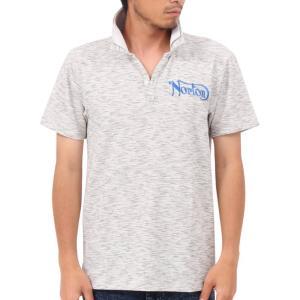 Norton ノートン・ポロシャツ 192N1209 吸水速乾 カラー ラメ 使い スキッパー W襟 半袖ポロシャツ ホワイト杢|bros-clothing