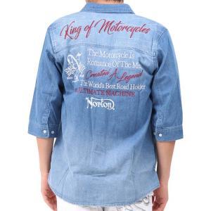 Norton ノートン 6分袖シャツ 192N1500 刺繍ロゴ 抗菌消臭 六分袖 デニムシャツ ブリーチ bros-clothing