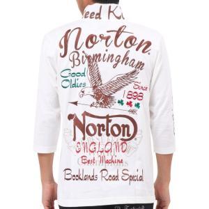 Norton ノートン・ポロシャツ 193N1200 バイカー モチーフ ストレッチ 6分袖 ポロシャツ ホワイト|bros-clothing