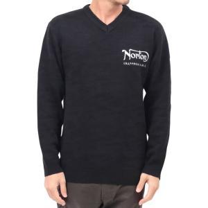 ノートン Norton セーター 193N1400 カモ ジャカード Vネック ニット セーター ブラック|bros-clothing