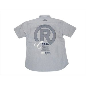 REAL B VOICE/リアルビーボイス FISHING 19SS RBV-FH-016 Rロゴプリント オックスフォード 半袖ボタンダウンシャツ/サーフシャツ ブルー bros-clothing
