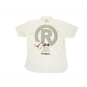 REAL B VOICE/リアルビーボイス FISHING 19SS RBV-FH-016 Rロゴプリント オックスフォード 半袖ボタンダウンシャツ/サーフシャツ ホワイト bros-clothing