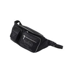 ノートン Norton ボディバッグ 201N8500 ロゴ刺繍 PU レザー ライダース ボディバッグ ブラック bros-clothing