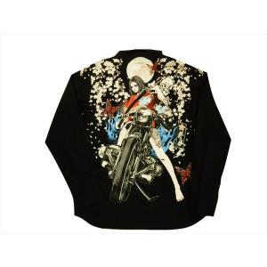 抜刀娘 絡繰魂 長袖シャツ 283012 和柄 刺繍&プリント「凛 ナイトライダー」 コットン 長袖シャツ ブラック bros-clothing