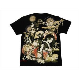 抜刀娘・ 絡繰魂 半袖Tシャツ 292151 和柄 刺繍&プリント