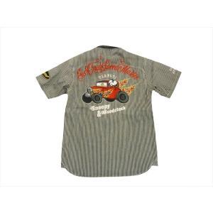 フラッグスタッフ×PEANUTS コラボ 半袖シャツ 4929031 刺繍「スヌーピー/ホットロッドカー」ヒッコリーストライプ 半袖ワークシャツ ブラック bros-clothing