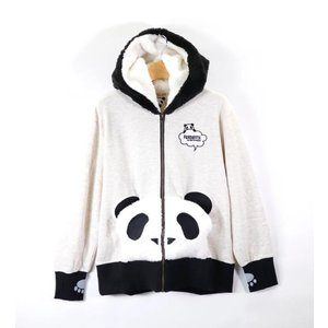 PANDIESTA/パンディエスタ 錦 539103 フェイクファー「熊猫外伝 目隠しパンディエスタ3D」フルジップパーカー オートミール bros-clothing