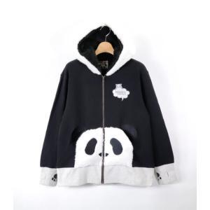 PANDIESTA/パンディエスタ 錦 539103 フェイクファー「熊猫外伝 目隠しパンディエスタ3D」フルジップパーカー ブラック bros-clothing