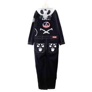 PANDIESTA/パンディエスタ 錦 539211 刺繍 熊猫謹製 なりきり アメリカン パンダ ストレッチコットンツイル オールインワン/ツナギ ブラック bros-clothing