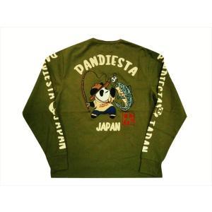 パンディエスタ/PANDIESTA・錦 長袖Tシャツ 539233 刺繍&プリント 熊猫印 フィッシングパンダ ロングTシャツ カーキ bros-clothing