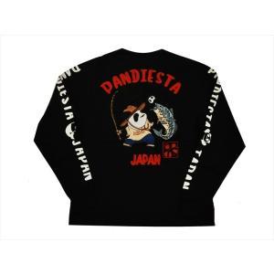 パンディエスタ/PANDIESTA・錦 長袖Tシャツ 539233 刺繍&プリント 熊猫印 フィッシングパンダ ロングTシャツ ブラック bros-clothing