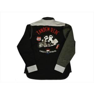 パンディエスタ PANDIESTA 錦 長袖シャツ 539234 熊猫謹製 刺繍 ストレッチ タンデムライド クレイジーツイルシャツ ブラック bros-clothing