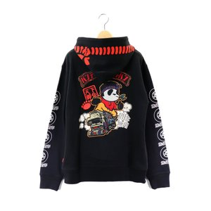 錦 PANDIESTA/パンディエスタ パーカー 539870 刺繍&プリント 熊猫野郎 デコトラパンダ2 裏毛スウェット フルジップパーカー ブラック bros-clothing