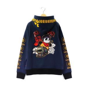 錦 PANDIESTA/パンディエスタ パーカー 539870 刺繍&プリント 熊猫野郎 デコトラパンダ2 裏毛スウェット フルジップパーカー ネイビー bros-clothing