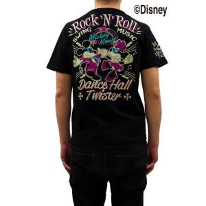 ディズニー ミッキーマウス×ローブローナックル・コラボ 半袖Tシャツ 58503 刺繍&プリント「M...