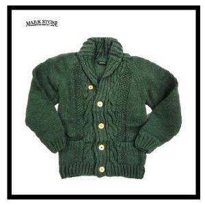 MARK STORE/マークストアー 8003-37401 ペルー製・ハンドニット・ケーブル編み・カウチン・ニット・カーディガン カーキ|bros-clothing