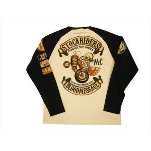 BLOOD MESSAGE ブラッドメッセージ/エフ商会 長袖Tシャツ BLLT-1080 『STOCKRIDERS/ストックライダース』タトゥー・ロングTシャツ スモーク×ブラック|bros-clothing