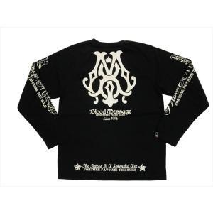 BLOOD MESSAGE ブラッドメッセージ/エフ商会 長袖Tシャツ BLLT-870 『BM Logo』タトゥー・バイカー・ロングTシャツ ブラック|bros-clothing