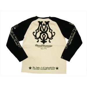 BLOOD MESSAGE ブラッドメッセージ/エフ商会 長袖Tシャツ BLLT-870 『BM Logo』タトゥー・バイカー・ロングTシャツ オフホワイト/ブラック|bros-clothing