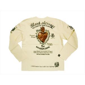 BLOOD MESSAGE ブラッドメッセージ/エフ商会 長袖Tシャツ BLLT-880 『Sacred Heart』タトゥー・バイカー・ロングTシャツ オフホワイト|bros-clothing