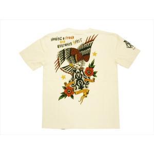 ブラッドメッセージ BLOOD MESSAGE/エフ商会 Tシャツ BLST-1020 『EAGLE/イーグル』アメリカンタトゥー半袖Tシャツ オフホワイト|bros-clothing