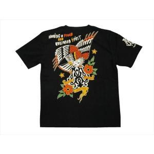 ブラッドメッセージ BLOOD MESSAGE/エフ商会 Tシャツ BLST-1020 『EAGLE/イーグル』アメリカンタトゥー半袖Tシャツ ブラック|bros-clothing