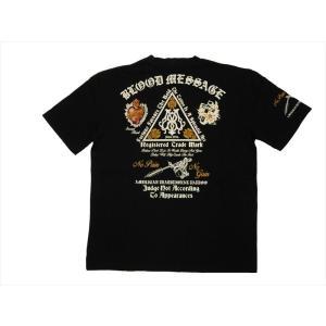 ブラッドメッセージ BLOOD MESSAGE/エフ商会 Tシャツ BLST-1030 『BM TRIANGLE LOGO』アメリカンタトゥー Vネック半袖Tシャツ ブラック|bros-clothing