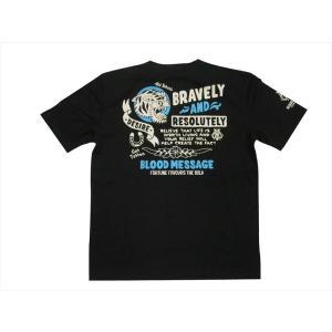 ブラッドメッセージ BLOOD MESSAGE/エフ商会 Tシャツ BLST-1110 『TIGER』アメリカン タトゥー半袖Tシャツ ブラック|bros-clothing
