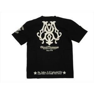 ブラッドメッセージ BLOOD MESSAGE/エフ商会 Tシャツ BLST-910 『BM Logo』アメリカンタトゥー Vネック半袖Tシャツ ブラック|bros-clothing