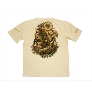 ブラッドメッセージ BLOOD MESSAGE/エフ商会 Tシャツ BLST-970 『Ship&Mermaid』アメリカンタトゥー半袖Tシャツ ホワイト|bros-clothing