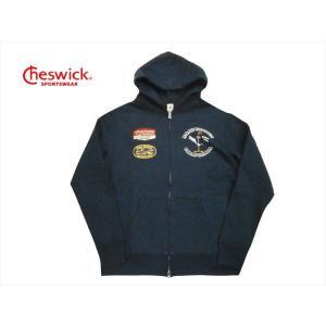 CHESWICK チェスウィック×ロードランナー コラボ パーカー CH68376 ワッペン&プリント 裏起毛スウェット フルジップパーカー ネイビー|bros-clothing
