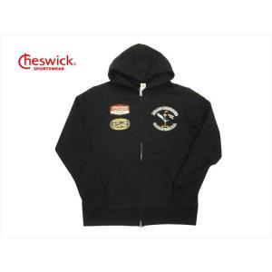 CHESWICK チェスウィック×ロードランナー コラボ パーカー CH68376 ワッペン&プリント 裏起毛スウェット フルジップパーカー ブラック|bros-clothing