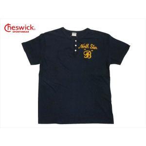 CHESWICK チェスウィック 半袖Tシャツ CH77312 『NORTH STAR』ヘンリーネックTシャツ ネイビー|bros-clothing