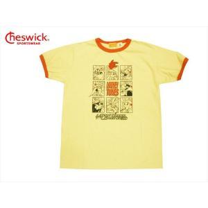 CHESWICK チェスウィック×ロードランナー・コラボ 半袖Tシャツ CH78252 『LOONEY TUNE'S RACING』 アメカジ リンガーTシャツ イエロー|bros-clothing