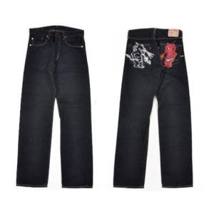 テッドマン TEDMAN・エフ商会 ジーンズ DEVIL-003 (参号) ステンシル&エアーブラシ「赤デビル」デニムパンツ インディゴ|bros-clothing