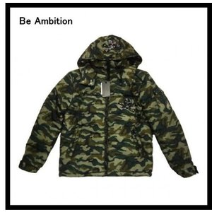 Be Ambition/ビーアンビション E24202 合皮ワッペン・シレ加工「スカル ストーン」迷彩柄 フード着脱・ナイロン中綿ジャケット|bros-clothing