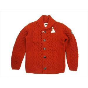HIMALAYAN CLIMBER'S HAND-KNIT/ヒマラヤン・クライマーズ・ハンドニット カウチン HCK-19F1 手編みショール・カーディガン  レッド|bros-clothing