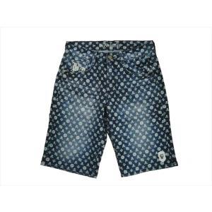 Be Ambition/ビーアンビション ハーフパンツ J27101 「スカル」モノグラム ストレッチ デニムショーツ インディゴ|bros-clothing