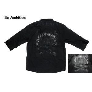 Be Ambition/ビーアンビション K23102 ラインストーン使い「スカル&ウイング」ハーフスリーブシャツ/七分袖シャツ ブラック|bros-clothing