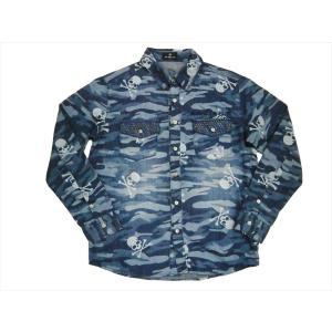 Be Ambition ビーアンビション 長袖シャツ K26201 迷彩柄「スカルPU&ロゴ」長袖シャンブレーシャツ|bros-clothing
