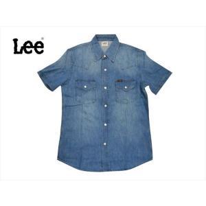 Lee リー 半袖シャツ LT0634-146 デニム 半袖ウエスタンシャツ ミッドユーズド bros-clothing