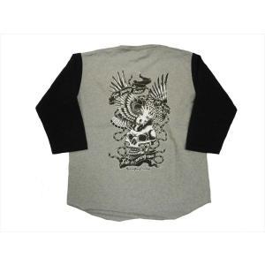 NATIVE GANG FAMILY/ネイティブ・ギャング・ファミリー 7分袖Tシャツ NGF20-494 スカルイーグル 七分袖Tシャツ グレー×黒|bros-clothing