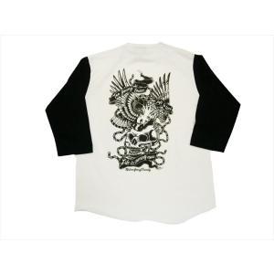 NATIVE GANG FAMILY/ネイティブ・ギャング・ファミリー 7分袖Tシャツ NGF20-494 スカルイーグル 七分袖Tシャツ 白×黒|bros-clothing