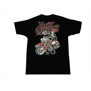キューティーハニー×NGF・コラボ 半袖Tシャツ NGF24-652 インクジェット・プリント「キューティーハニー・バイク」 半袖Tシャツ ブラック|bros-clothing