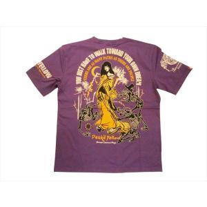 ピークドイエロー Peak'd Yellow エフ商会 半袖Tシャツ PYT-214『姉御&骸骨』 抜染プリント 半袖Tシャツ パープル bros-clothing