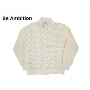 Be Ambition/ビーアンビション S26204 スカルワッペン 袖切替 モノグラム柄 裏毛 トラックジャケット ホワイト|bros-clothing