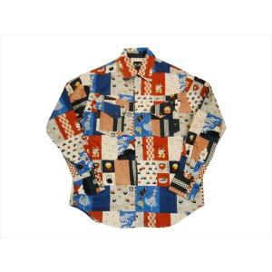 衣櫻・ころもざくら 長袖シャツ SA-1153 「和柄パッチワーク調」柄 長袖ウエスタンシャツ/日本製 マルチカラー|bros-clothing