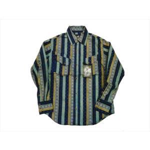 衣櫻・ころもざくら 長袖シャツ SA-1177 変わり縞 長袖ウエスタンシャツ 和柄  マルチカラー/日本製|bros-clothing