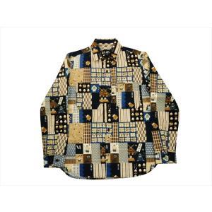 衣櫻・ころもざくら 長袖シャツ SA-1225 「ジャパン・パッチワーク調/相撲」柄 和柄ワークシャツ マルチカラー 日本製|bros-clothing