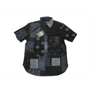 衣櫻 ころもざくら/半袖シャツ SA-1280 大島紬調パッチワーク プリント「BORO OHSHIMA」サザンクロス素材 和柄 半袖コットンシャツ ネイビー 日本製 bros-clothing